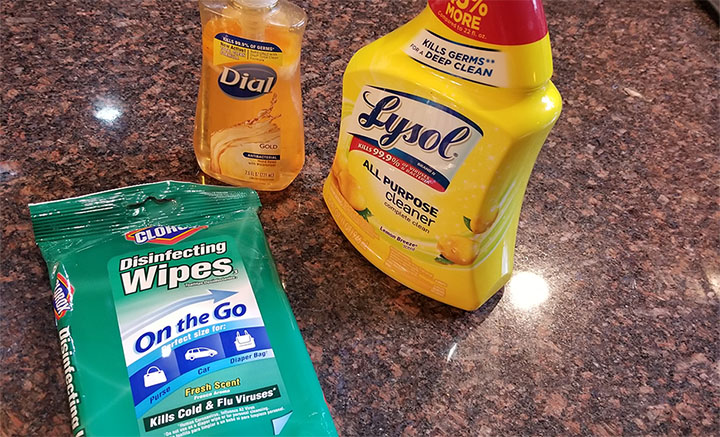 Lysol spray and wipes are available to guests